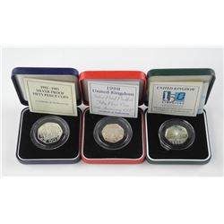 3x 925 Silver 50 Pence Coins 'Proof'