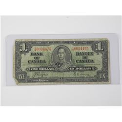 Bank of Canada 1937 - One Dollar Note. C/T.