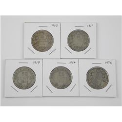 5x Canada Silver 50 Cent Coins: 1910, 1911, 1916,