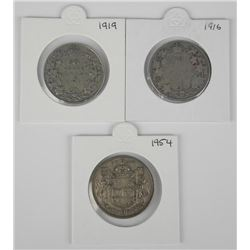3x Canadian Silver 50 Cent Coins: 1916, 1919, 1954
