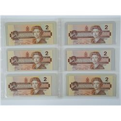 6x Bank of Canada Two Dollar Notes. UNC