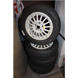 SET OF FOUR 205 60R15 TIRES ON RIMS