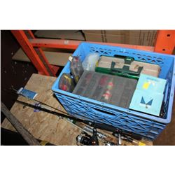 CRATE OF TACKLE BOXES AND FISHING RODS