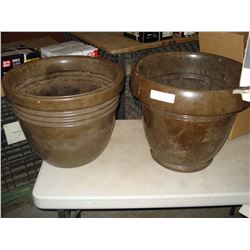 TWO LARGE PLASTIC PLANTERS