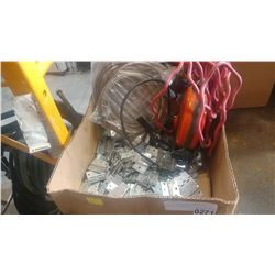 BOX OF HINGES AND CABLE AND EXTENSION CORDS