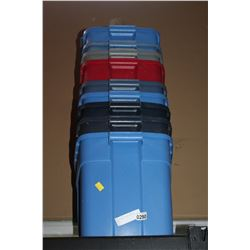 9 RUBBERMAID TOTES AND TWO LIDS