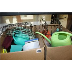 TWO BOXES OF VASES AND GARDEN SUPPLIES