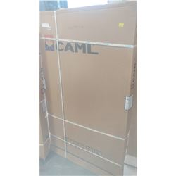 NEW CAML DOUBLE SLIDING GLASS AND BRUSHED NICKEL SHOWER DOOR IN BOX