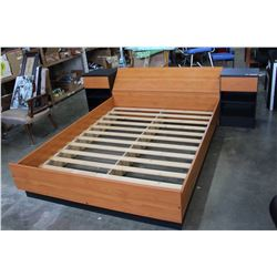BLACK AND MAPLE QUEENSIZE BEDFRAME WITH STORAGE HEADBOARD AND BUILT IN NIGHTSTANDS
