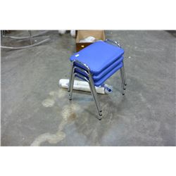 THREE BLUE LEATHER AND CHROME STOOLS