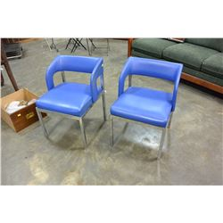 PAIR OF BLUE LEATHER AND CHROME CHAIRS
