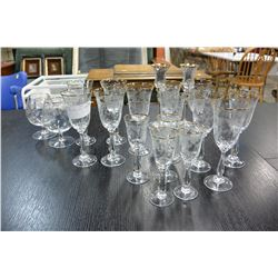 LOT OF ETCHED AND GOLD RIMMED STEMWARE