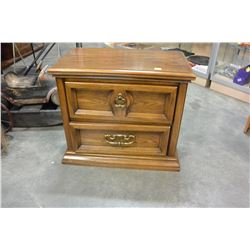 TWO DRAWER OAK NIGHTSTAND