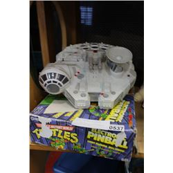 STAR WARS MILLENIUM FALCON TOY AND TMNT PINBALL MACHINE