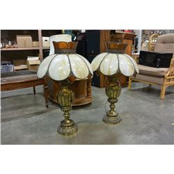 TWO BRASS LAMPS WITH LEADED GLASS SHADES