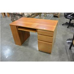 MAPLE 3 DRAWER DESK WITH SHELF