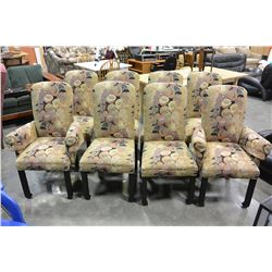 SET OF 8 UPHOLSTERED DINING CHAIRS