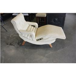 MID CENTURY MODERN VINYL CHAISE WITH POWER INCLINE AND HEAT
