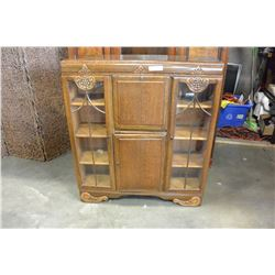 VINTAGE OAK SECRETAIRE DISPLAY CABINET