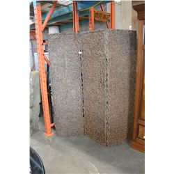 THREE PANEL WICKER SCREEN