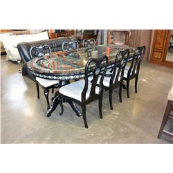 LACQUER AND MOTHER OF PEARL INLAID DINING TABLE AND 6 CHAIRS