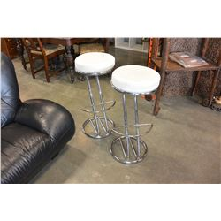 PAIR OF WHITE LEATHER AND CHROME STOOLS