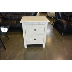 2 DRAWER WHITE ENDTABLE