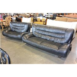 MODERN BLACK LEATHER SOFA AND LOVESEAT