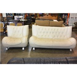 MODERN WHITE LEATHER BUTTONBACK LOVESEAT AND CHAIR