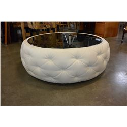 ROUND WHITE LEATHER GLASSTOP COFFEE TABLE