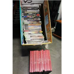 BOX OF VIDEOGAMES AND DVDS