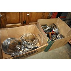 TWO BOXES OF KITCHEN ITEMS AND TRAYS