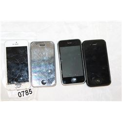 LOT OF FOUR IPHONE 3GS AND 5 AND 4S ETC