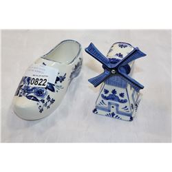 TWO PIECES OF DELFT DUTCH POTTERY SHOE AND WINDMILL