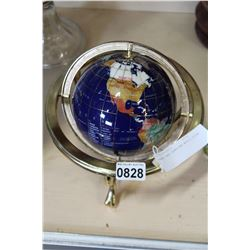 BRASS AND GEMSTONE WORLD GLOBE