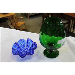 LARGE GREEN GLASS VASE AND BLUE GLASS DISH