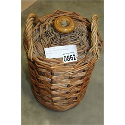 WICKER WRAPPED STONEWARE WHISKEY JUG