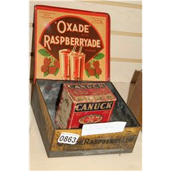 ANTIQUE DRINK TIN AND CARDBOARD CANUCK AMMO BOX