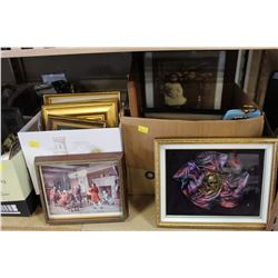 TWO BOXES OF VINTAGE AND ANTIQUE FRAMED PICTURES