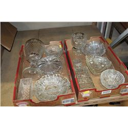 TWO TRAYS OF GLASS AND CRYSTAL SERVING PIECES AND DECANTER