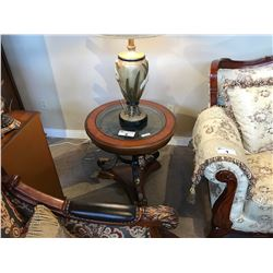 CHERRY WOOD GLASS TOP END TABLE WITH BUILT IN CLOCK