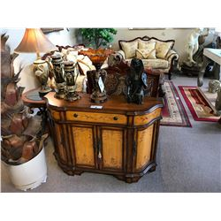 DARK WOOD FLORAL 3 DOOR SINGLE DRAWER CONSOLE TABLE