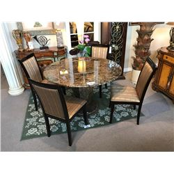 DARK BROWN 120 CM ROUND MARBLE TABLE WITH MARBLE BASE & 4 DARK WOOD FRAMED CHAIRS