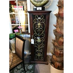 DARK WOOD WITH ORNATE METAL TRIM GLASS FRONT WINE CABINET