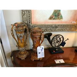 LOT OF HOME DECOR: 2 CANDLE HOLDERS & FRENCH HORN
