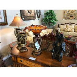 LOT OF HOME DECOR: 2 CANDLE HOLDERS, STATUE & PEDESTAL