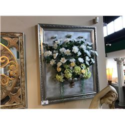 FRAMED PICTURE OF FAUX FLOWERS