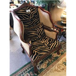 CHERRY WOOD CLAW FOOT WING BACK ZEBRA PRINT WING BACK CHAIR
