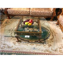 WOOD CLAW FOOT & GLASS TOP COFFEE TABLE