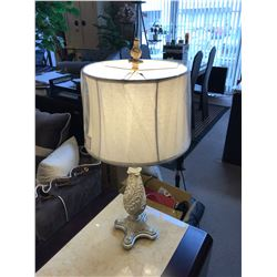 WHITE FLORAL PATTERNED TABLE LAMP